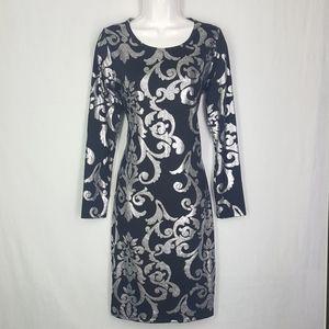 Lularoe dress, size Small, metallic over black